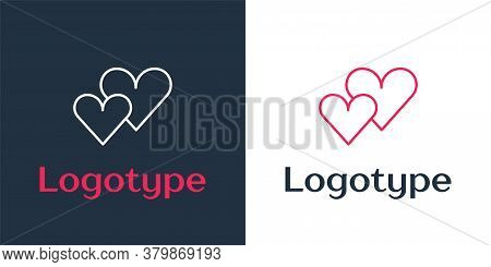 Logotype Line Heart Icon Isolated On White Background. Romantic Symbol Linked, Join, Passion And Wed