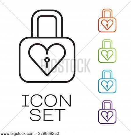 Black Line Lock And Heart Icon Isolated On White Background. Locked Heart. Love Symbol And Keyhole S