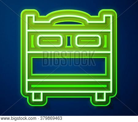 Glowing Neon Line Bedroom Icon Isolated On Blue Background. Wedding, Love, Marriage Symbol. Bedroom
