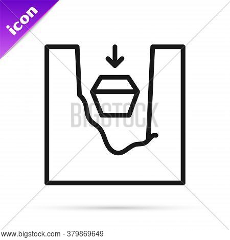 Black Line Coffin In Grave Icon Isolated On White Background. Funeral Ceremony. Vector