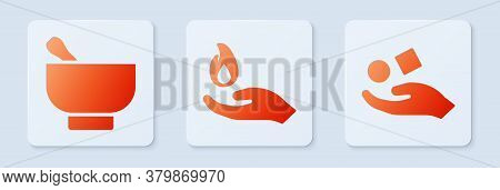 Set Hand Holding A Fire, Magic Mortar And Pestle And Cube Levitating Above Hand. White Square Button