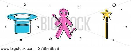 Set Magician Hat, Voodoo Doll And Magic Wand Icon. Vector