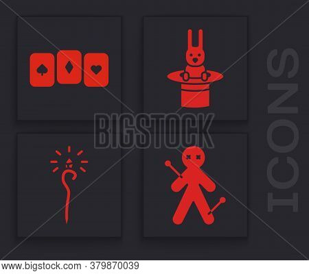 Set Voodoo Doll, Playing Cards, Magician Hat And Rabbit And Magic Staff Icon. Vector