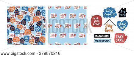 Coronavirus Covid-19 Set Of Two Patterns Letterings And Icons. Seamless Vector Backgrounds Stickers