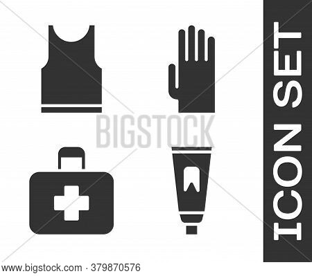 Set Tube Of Toothpaste, Sleeveless T-shirt, First Aid Kit And Rubber Gloves Icon. Vector