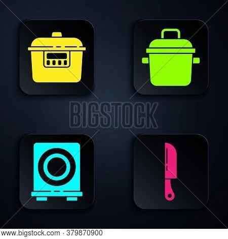 Set Knife, Slow Cooker, Electric Stove And Cooking Pot. Black Square Button. Vector