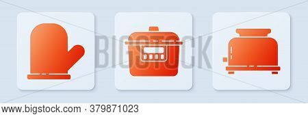 Set Slow Cooker, Oven Glove And Toaster. White Square Button. Vector