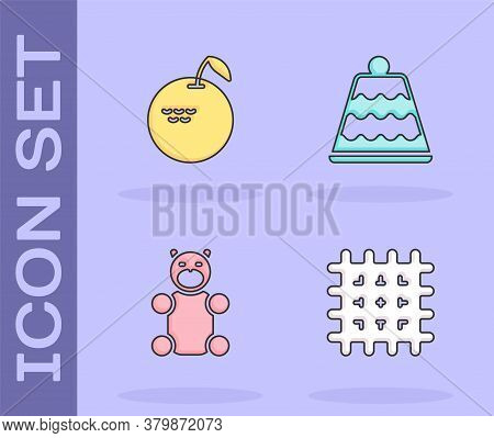 Set Cracker Biscuit, Apple, Jelly Bear Candy And Cake Icon. Vector