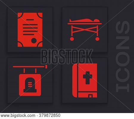 Set Holy Bible Book, Death Certificate, Dead Body In The Morgue And Signboard Tombstone Icon. Vector