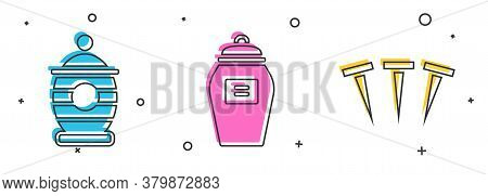 Set Funeral Urn, Funeral Urn And Metallic Nails Icon. Vector
