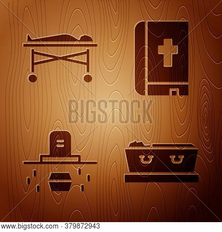 Set Coffin With Dead, Dead Body In The Morgue, Grave With Coffin And Holy Bible Book On Wooden Backg