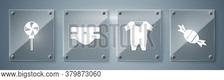 Set Candy, Baby Clothes, Baby Absorbent Diaper And Lollipop. Square Glass Panels. Vector