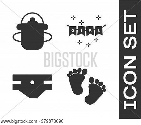 Set Baby Footprints, Baby Bottle, Baby Absorbent Diaper And Carnival Garland With Flags Icon. Vector