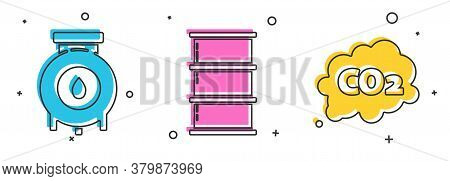 Set Oil And Gas Industrial Factory Building, Barrel Oil And Co2 Emissions In Cloud Icon. Vector