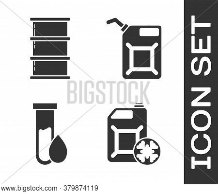 Set Antifreeze Canister, Barrel Oil, Oil Petrol Test Tube And Canister For Gasoline Icon. Vector