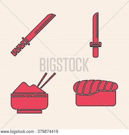 Set Sushi, Traditional Japanese Katana, Japanese Katana And Rice In A Bowl With Chopstick Icon. Vect