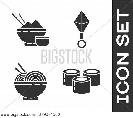 Set Sushi, Rice In A Bowl With Chopstick, Asian Noodles In Bowl And Chopsticks And Japanese Ninja Sh