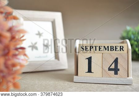 September 14, Date Design In Natural Concept With Number Cube.