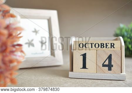October 14, Date Design In Natural Concept With Number Cube.