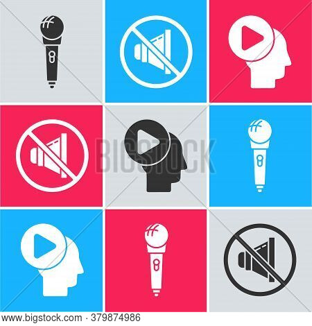 Set Microphone, Speaker Mute And Head People With Play Button Icon. Vector