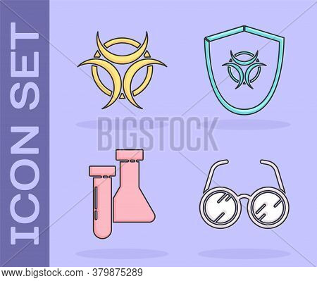 Set Laboratory Glasses, Biohazard Symbol, Test Tube And Flask Chemical And Biohazard Symbol On Shiel