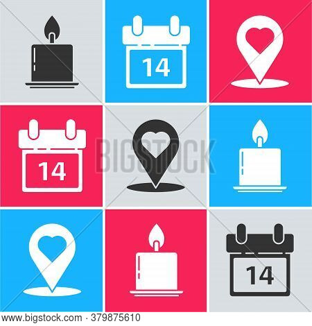 Set Burning Candle, Calendar With February 14 And Map Pointer With Heart Icon. Vector
