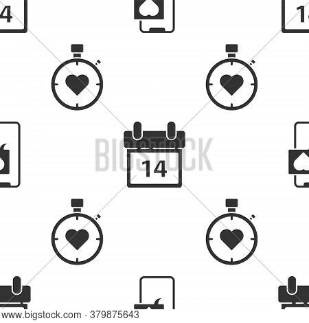 Set Smartphone With Heart Speech Bubble, Calendar With February 14 And Heart In The Center Stopwatch
