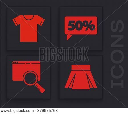 Set Skirt, T-shirt, Fifty Discount Percent Tag And Search In A Browser Window Icon. Vector