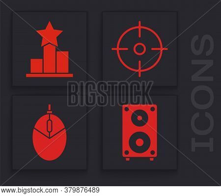 Set Stereo Speaker, Star, Target Sport And Computer Mouse Gaming Icon. Vector