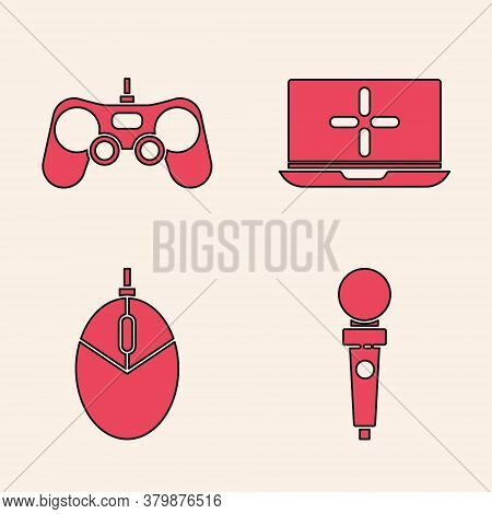 Set Joystick For Arcade Machine, Gamepad, Laptop And Computer Mouse Gaming Icon. Vector