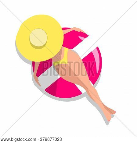 Woman On Swimming Ring Concept. White Skinned Girl In A Hat Top View Isolated On White Background. R