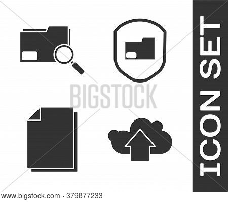 Set Cloud Upload, Search Concept With Folder, Document And Document Folder Protection Icon. Vector