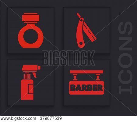 Set Barbershop, Aftershave, Straight Razor And Hairdresser Pistol Spray Bottle Icon. Vector