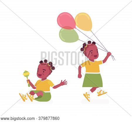 Toddler Child, Black Little Girl Enjoying Playing With Rattle Toy, Balloons. Cute Sweet Happy Health