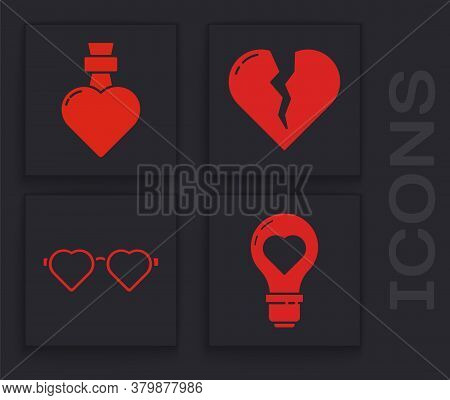 Set Heart Shape In A Light Bulb, Bottle With Love Potion, Broken Heart Or Divorce And Heart Shaped L