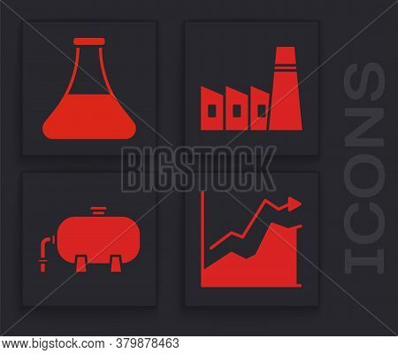 Set Oil Price Increase, Oil Petrol Test Tube, Oil Industrial Factory Building And Oil Industrial Fac