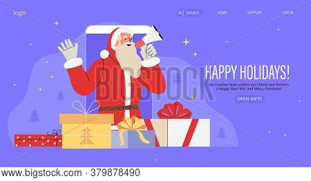 Christmas Or New Year Web Or Social Media Banner, Flyer, Landing Page, Poster. Smartphone With Santa