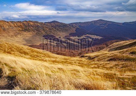 Landscape Of Autumnal Peaks Of The Carpathians. Eastern Carpathians, Poland.