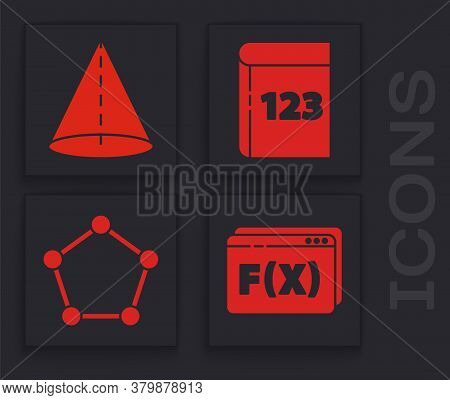 Set Function Mathematical Symbol, Geometric Figure Cone, Book With Word Mathematics And Geometric Fi