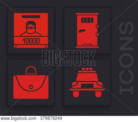 Set Police Car And Flasher, Wanted Poster, Prison Cell Door And Briefcase Icon. Vector
