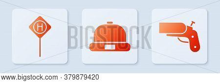 Set Beanie Hat, Parking And Flare Gun Pistol. White Square Button. Vector