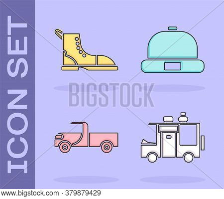 Set Rv Camping Trailer, Hiking Boot, Pickup Truck And Beanie Hat Icon. Vector