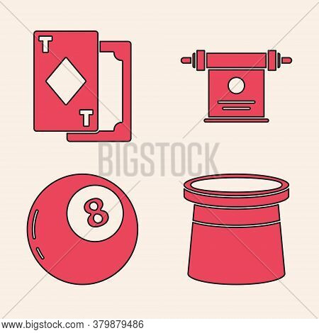 Set Magician Hat, Playing Cards, Magic Scroll And Magic Ball Of Predictions Icon. Vector
