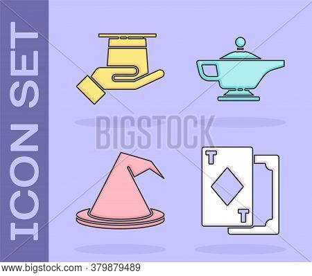 Set Playing Cards, Magician Hat In Hand, Witch Hat And Magic Lamp Or Aladdin Icon. Vector