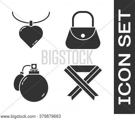 Set Breast Cancer Awareness Ribbon, Necklace With Heart Shaped Pendant, Perfume And Handbag Icon. Ve