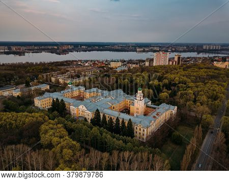 Aerial View Of Voronezh In Spring Evening From Height Of Drone Flight