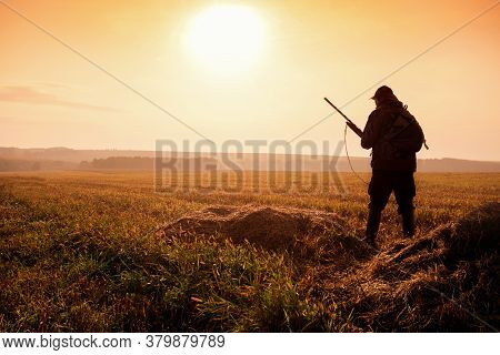 Hunter On The Background Of The Sunset Are On The Field. Hunter In Sunrise With Shotgun In Autumn Se
