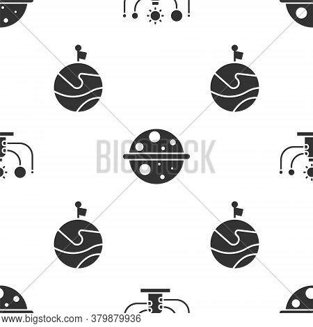 Set Solar System, Planet Saturn And Moon With Flag On Seamless Pattern. Vector