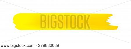 Yellow Brush Marks Isolated On White, Brushstroke Yellow For Watercolor Paint Idea, Yellow Stripe Br