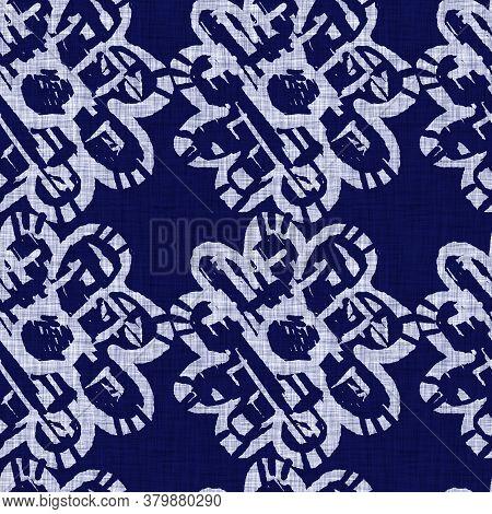 Indigo Blue Flower Block Print Damask Dyed Linen Texture Background. Seamless Woven Japanese Repeat